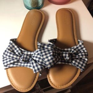 Gingham Blue and White Checkered Sandals